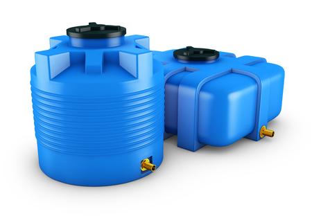 Contenedores para agua de diferentes formas. Representación 3D. Foto de archivo