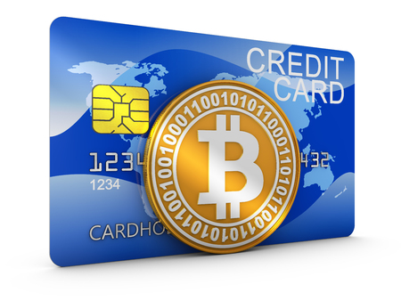 Credit card and the bitcoin coin. 3d rendering. Stok Fotoğraf