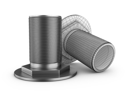 Two branch pipes with thread on a white background. 3d rendering.