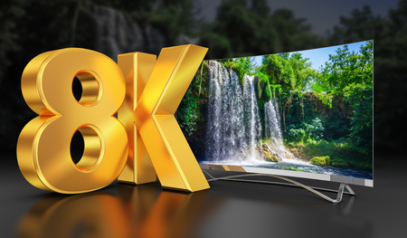 Ultra HD TV with a view of the beautiful waterfall, 3D-rendering. Stock fotó - 89453975