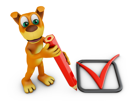 A dog with a red pencil and a check mark. 3d rendering.