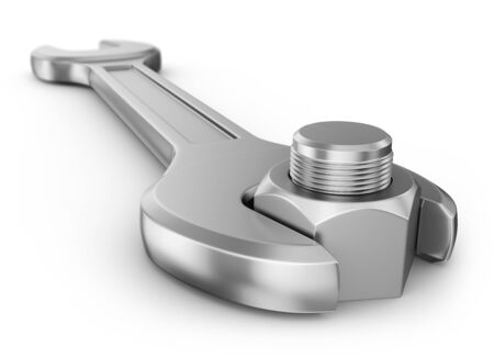 to maintain: Wrench and nut with thread on a white background. 3d rendering.