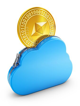 Cloud with zipper and coin ethereum. 3D rendering.