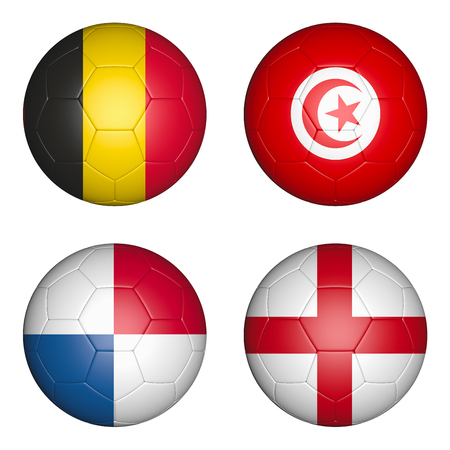 Four balls with the image of the flags of countries, the cup of the championship of football. 3d rendering. Standard-Bild