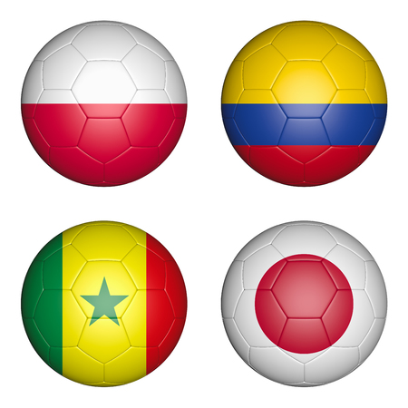 Four balls with the image of the flags of countries, the cup of the championship of football. 3d rendering. Stock Photo
