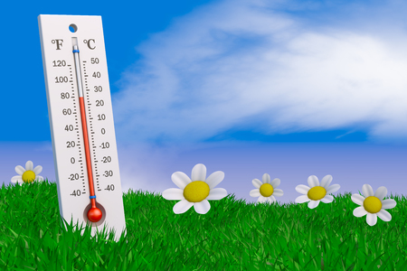 Thermometer and flowers on the grass against the sky. 3d rendering.