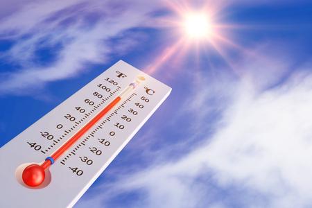 Termometr na tle słońca. Renderowanie 3d. Zdjęcie Seryjne