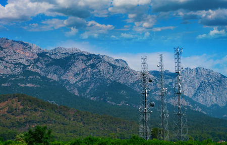 Mobile communication towers in the mountains of Turkey, next to Kemer