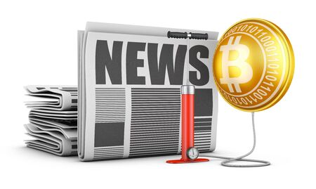 Newspapers, pump and bloated bitcoin. 3d rendering.