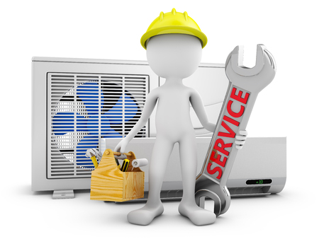 Man with a wrench on the background of the air conditioner. 3d rendering.