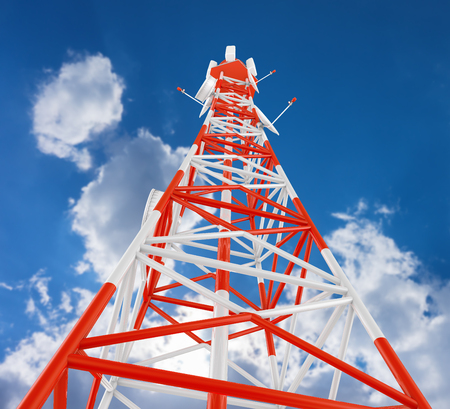 Modern telecommunications tower against the sky. 3d rendering.