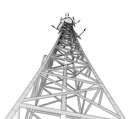 Modern telecomunication tower on a white background. 3d rendering.