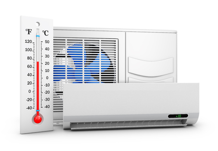 Air conditioner and thermometer on white background. 3d rendering.