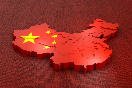 A volumetric map of China on the flag. 3d rendering. Stock Photo