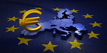 The sign of the Euro currency on the volumetric map of the European Union. 3d rendering.