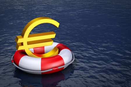 A euro sign on the lifebuoy. 3d rendering. Stock Photo