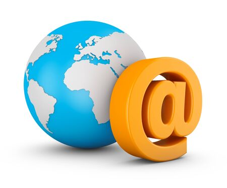 Symbol of e-mail and globe on white background. 3d rendering.