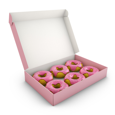 Donuts with pink icing in the box. 3d rendering. Stock Photo