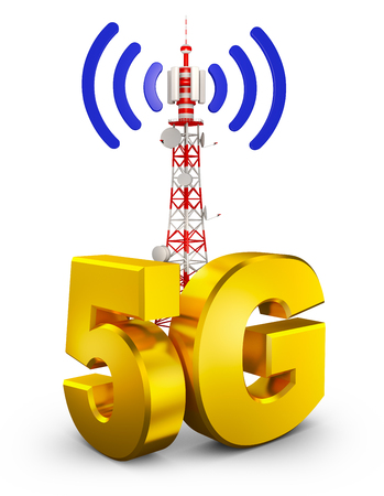 5G and a communications tower. 3d rendering. Imagens