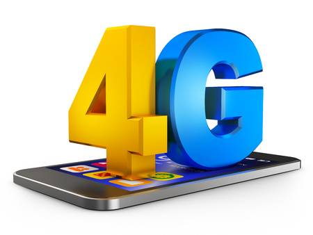 4G and  smartphone  on a white background. 3d rendering. Stock Photo