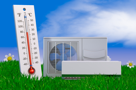 air conditioning and thermometer on grass. 3d rendering. Banco de Imagens