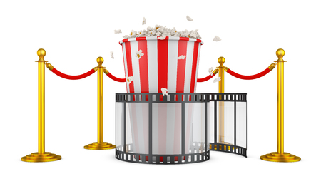 A film and popcorn on a background of pillars with a red rope. 3d rendering. Stock Photo