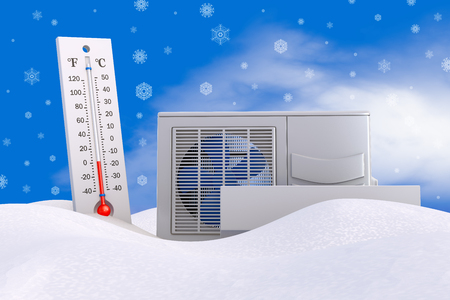 Air conditioning and thermometer in the snow. 3d rendering. Stockfoto