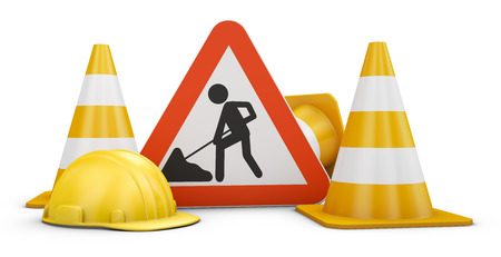 Traffic sign, cones and helmets. 3d rendering.