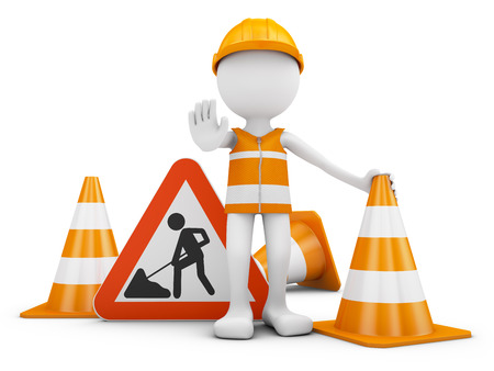 Road worker and traffic sign with cones. 3d rendering. Stock Photo