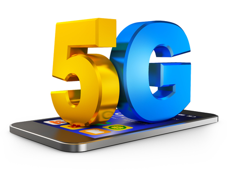 5G and  smartphone  on a white background. 3d rendering. Stock Photo