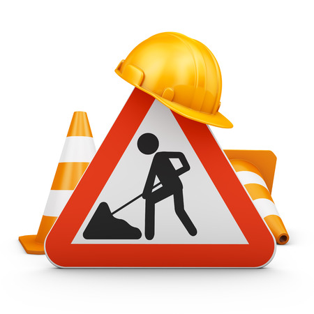 Traffic sign, cones and helmet. 3d rendering. Stock Photo