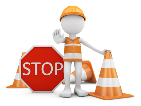 Road worker with helmet and traffic sign with cones. 3d rendering. Stock Photo