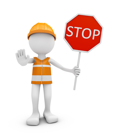 Road worker with helmet and traffic sign STOP. 3d rendering.