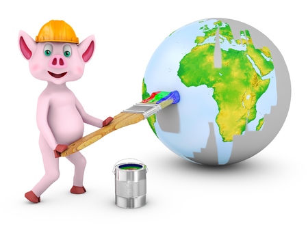 A Piglet with a brush paints the earth on the sphere. 3d rendering.Elements of this image are furnished by NASA.