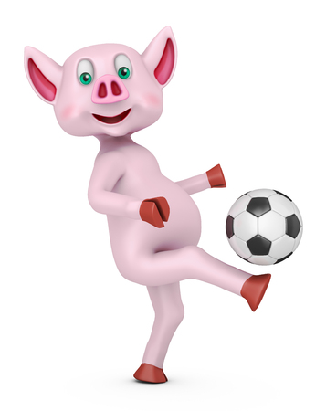 Piglet with soccer ball on white background. 3d rendering.