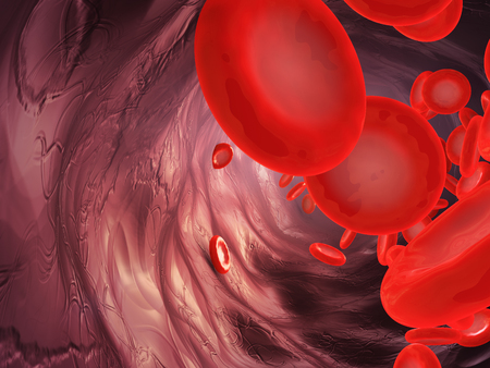 A close-up of the movement of blood particles in the artery. 3d rendering. Stock Photo
