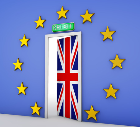 Wall in the form of a flag of the European Union and a door with the flag of the Great Britain. 3d rendering. Stock Photo