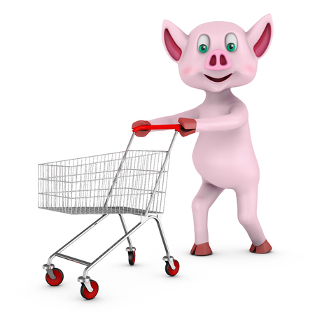 The pig carries to the cart. 3d rendering.