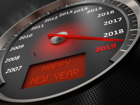 The speedometer indicates 2019 and the inscription on the screen: Happy New Year. 3d render