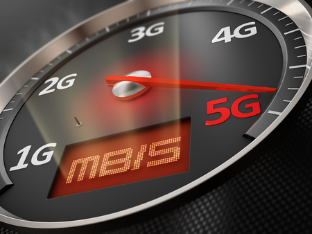 Car speedometer arrow which indicates 5G. 3d render Banco de Imagens