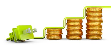 Enchufe estándar americano verde y pilas de monedas. Render 3d