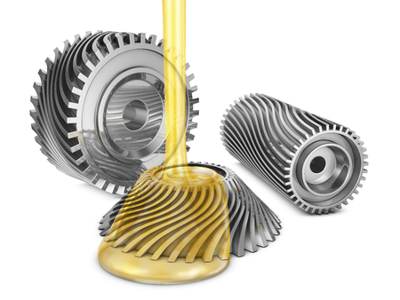 Mineral oil is poured on the rotating gears. 3d render.