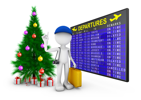 man with a suitcase and a camera on the background of departures board and a Christmas tree. 3d render Imagens