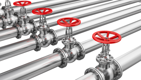 Glossy pipes and valves connection. 3d render.