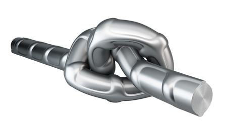 Metal fittings twisted into a knot. 3d render