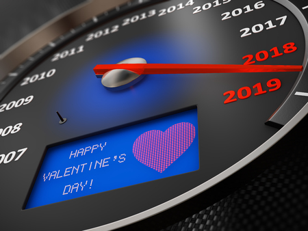 Speedometer with an inscription on the screen - Happy Valentines Day. 3d render Stock Photo