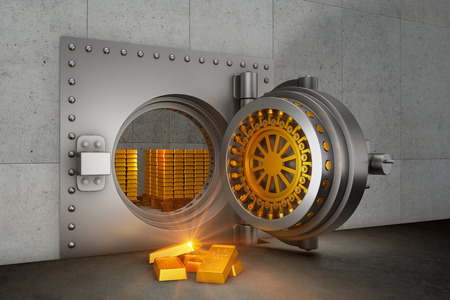 Open bank safe armored door and gold bars. 3d render
