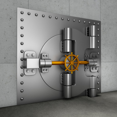 Huge armored door in the banking gold vault. 3d render