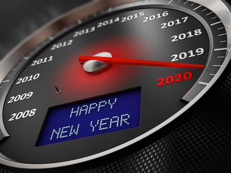 Il tachimetro indica il 2020 e la scritta sullo schermo: Happy New Year. rendering 3d