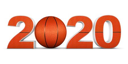 basketball ball and volumetric inscription 2020. 3d render.